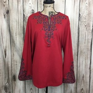 Bob Mackie Red embroidered Tunic Knit Top